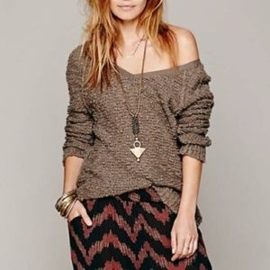 [Free People] Songbird Boucle V-Neck Sweater Brown